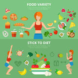 Woman slim lifestyle vector flat infographic: health and fitness Royalty Free Stock Photo