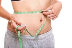 Woman slim stomach with measuring tape around it Stock Photography
