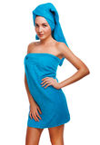 woman slim thin curly girl brunette in blue towel after bath sho royalty free stock photography