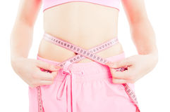 Woman with slim waist or abdomen measuring Royalty Free Stock Photography