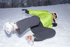 Woman slipped on a snow and ice Stock Images