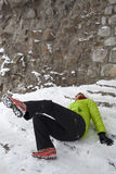 Woman slipped on a snow and ice Stock Photography