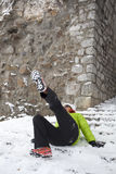 Woman slipped on a snow and ice Stock Photo