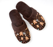 Woman slippers. Pair of woman brown night slippers Stock Photo