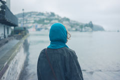 Woman by a slipway Stock Images