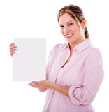 Woman with a small banner Stock Photography