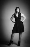 Woman in small black dress Royalty Free Stock Photos
