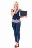 Woman with small blackboard royalty free stock image