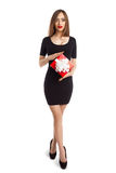 Woman with small present box Royalty Free Stock Image