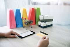 Woman and Small shopping cart with Laptop for Internet online sh royalty free stock photography
