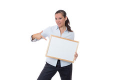 Woman with a small whiteboard Stock Photos