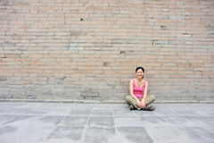 woman at small wild goose pagoda Stock Images