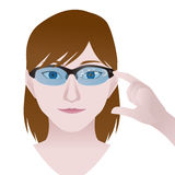 Woman with smart glasses, Wearable device, illustration Stock Photos
