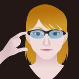 Woman with smart glasses, Wearable device, illustration Royalty Free Stock Image