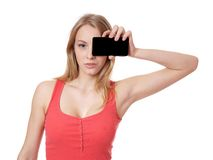 Woman with smart phone camera Stock Image