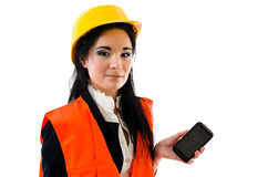 Woman with smartphone. Engineer woman with smartphone isolated on white Stock Image
