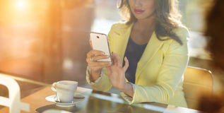 Woman with smartphone Stock Photo