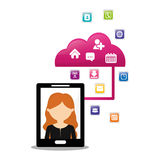 Woman smartphone cloud connection social media application Royalty Free Stock Photo