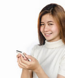 Woman with smartphone. Royalty Free Stock Image