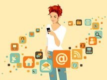 Woman with smartphone. Woman using smartphone. Around it - social and media icons