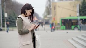 Woman with Smartphone stock video footage