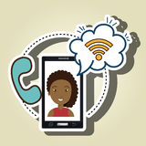 woman smartphone wifi and telephone Royalty Free Stock Photography
