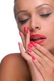 Woman with smeared lipstick Royalty Free Stock Image