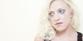 Woman with smeared mascara Stock Photos