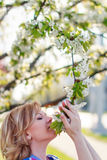 Woman smell flower Royalty Free Stock Image