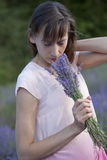 Woman smelling bouquet lavender Royalty Free Stock Images