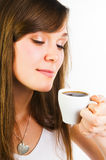 Woman smelling coffee aroma Royalty Free Stock Photos