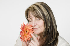 Woman smelling flower Royalty Free Stock Image