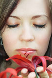 Woman smelling flower Royalty Free Stock Photography