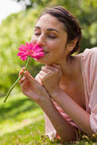 Woman smelling a flower while lying on her front Stock Photography
