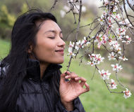 Woman smelling a flower tree Royalty Free Stock Photo