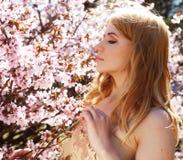 Woman smelling flowers in blooming sakura garden Royalty Free Stock Image