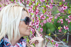 Woman smelling flowers on the branches Stock Photos