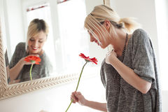 Woman smelling gerbera flower Royalty Free Stock Images