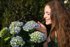Woman smelling at hydrangea flower Stock Photo