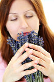 Woman Smelling Lavender Stock Image
