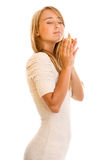 Woman smelling perfume Royalty Free Stock Image