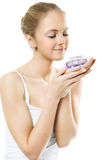 Woman smelling perfume Royalty Free Stock Photo