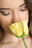Woman Smelling Rose Royalty Free Stock Images