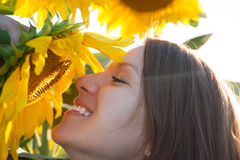 Woman is smelling the sunflower. Woman enjoying the scent of a sunflower in the field royalty free stock images