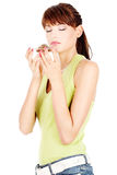Woman smelling tea Royalty Free Stock Photos