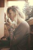 Woman smelling tea. Preparing for tea ceremony royalty free stock photo