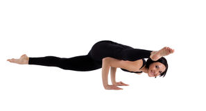 Woman smile in arm balance asana isolated Royalty Free Stock Image