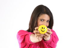Woman with smile ball stock photography