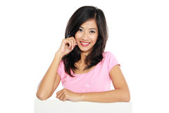 Woman smile brightly holding white blank board Stock Photography