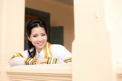 The woman smile in congratulations day . Stock Image